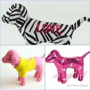 SET of 3 PINK plush mascot dogs